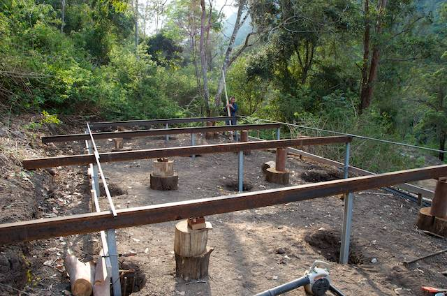 Ready for concrete - building guest sleeping platforms at Nightfall wilderness camp